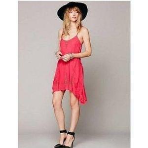 Pink Tango Meadow Slip Dress w/Gold Embroidery